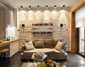 Вітальня в стилі лофт в бежевому кольорі (3 фото) фото