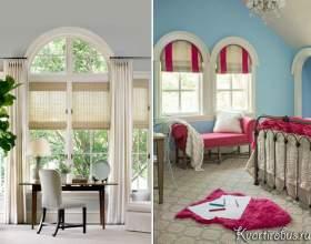 Оформлення арочного вікна римськими і рулонними шторами (4 фото) фото