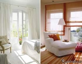Оформлення вікна з балконними дверима з допомогою римських, японських і класичних штор (4 фото) фото